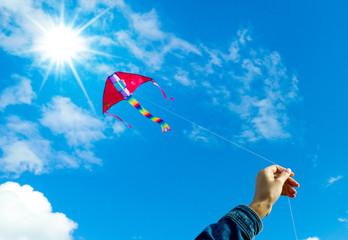 Hands holding kite