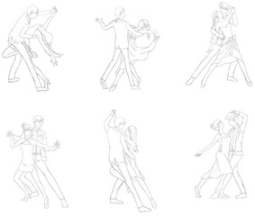 A cartoon drawing icon of dancing couple sport for both man and woman in action and dancer fashion clothing, vector