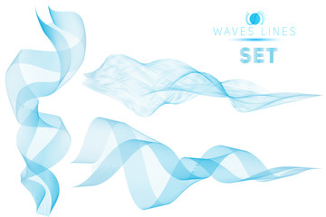 set blue blend massive waves water abstract background template