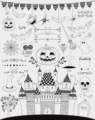 Vector Black Hand Sketched Doodle Halloween Icons