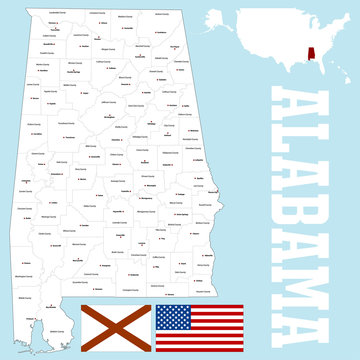 A large and detailed map of the State of Alabama with all counties and county seats.