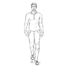 Vector Sketch Fashion Male Model in Trousers and Longsleeve Shirt