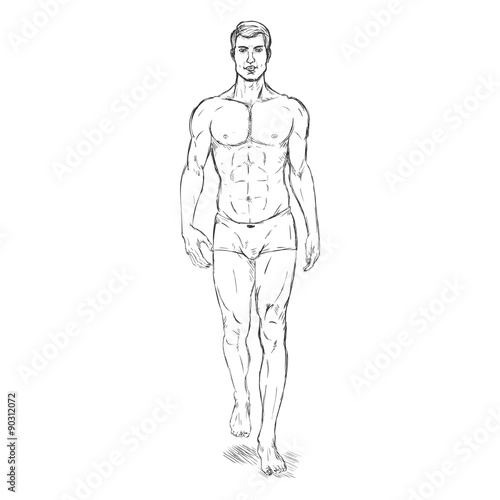 Vector single sketch illustration fashion male model in vector single sketch illustration fashion male model in underwear pronofoot35fo Gallery