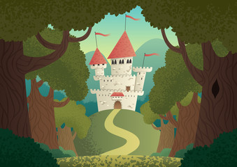 Castle Landscape / Cartoon fantasy castle. No transparency used. Basic (linear) gradients.