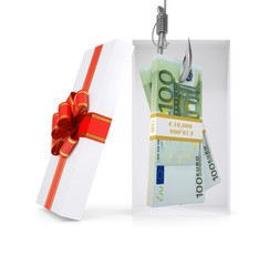 Euro on fish-hook in gift box