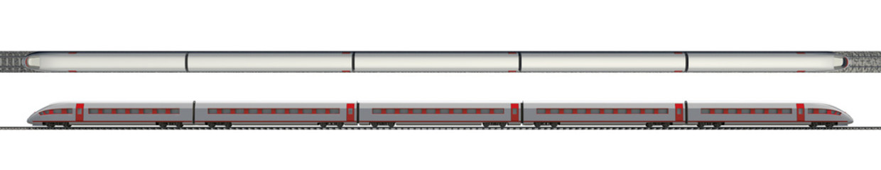 Long train on white, top and side views