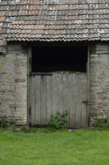 Old Wooden Barn Doorway to Stable