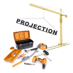 Building crane with tools