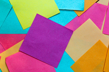 squares of colored paper