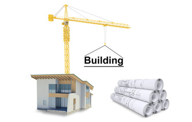 Building crane with house and sketches