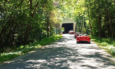 Country Drive through Covered Bridge