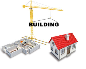 Building crane with house
