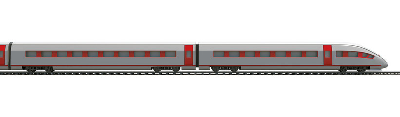 Long train on white, side view