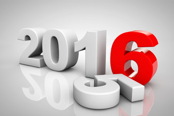 New Year 2016 3d Sign