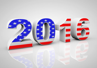 New Year 2016 Sign as USA Flag
