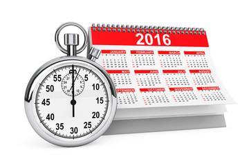 2016 year calendar with stopwatch