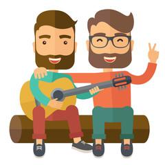 Two men playing a guitar.