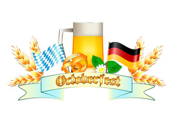 Colorful logo for postcards and greetings with Oktoberfest