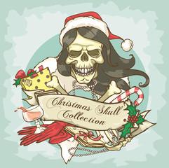 Mrs Claus Skull label design