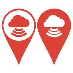 Map pointer. cloud icon, vector illustration.