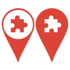 Map pointer. Puzzle Icon on Internet Button Original Vector Illustration