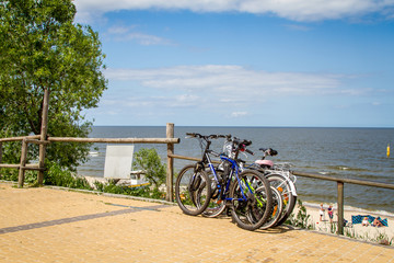 Bicycles leaning against wooden fence