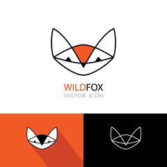 Geometric fox symbol icon set. Logo design.