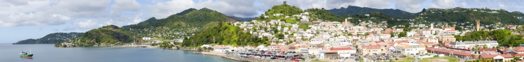A panoramic view of the island of Grenada.