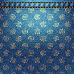 Texture of denim fabric with flowers.