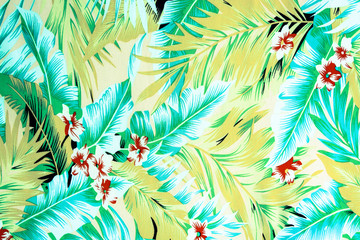 texture fabric Vintage Hawaiian flowers and leaves for backgroun