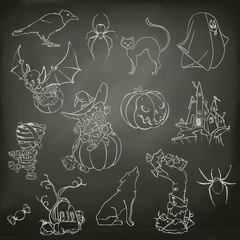 Halloween, sketches of icons vector set