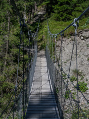 Hanging bridge on a canyon in Switzerland