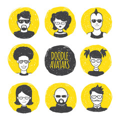 Vector user avatars in trendy hand drawn doodle style. Eight