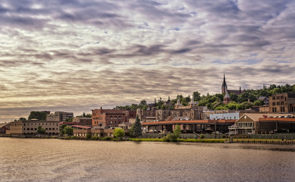 A water front Panoramic view of Houghton, Michigan, USA.