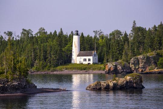 Rock Harbor Lighthouse, Isle Royale National Park, Lake Superior, Michigan, USA.