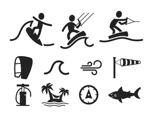 Summer water sport pictograms