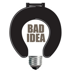 Light Bulb Bad Idea Concept with Toilet Seat