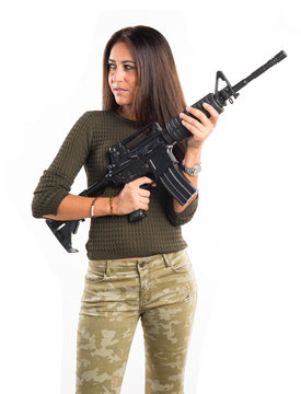 Woman holding a rifle