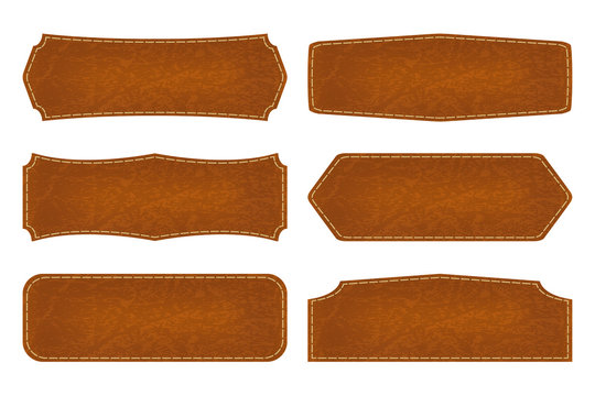 Set of 6 shapes leather sign labels