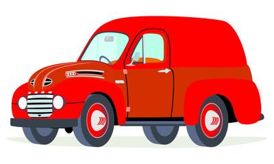 Caricatura furgoneta panel Ford F1 1950 roja vista frontal y lateral