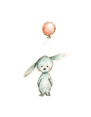 drawing of bunny with balloon