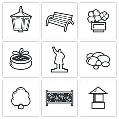 Landscaping icons. Vector Illustration