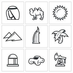 Arab Emirates icons. Vector Illustration.