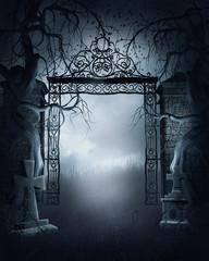 Cmentarna brama z drzewami i krzyżami