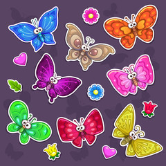 Funny cartoon butterflies stickers set