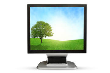 Computer Monitor grassland screen. Isolated on white background.