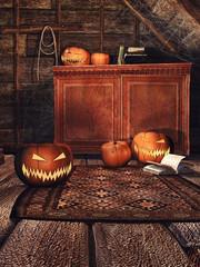 Drewniany pokój z dyniami na Halloween, pajęczynami i starymi książkami