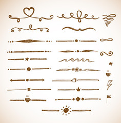Set of hand-drawn sketch dividers.