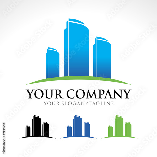 quotcommercial apartment building company logo designquot stock
