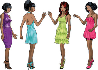 Four beautiful African American and mixed race ladies with stylish hairdo and beautiful smile in colorful cocktail dresses in realistic cartoon style